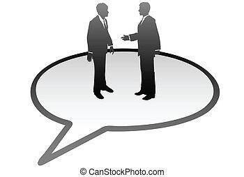 professionnels, communication, intérieur, bulle discours, parler