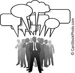 professionnels, communiquer, conversation, parole, bulles