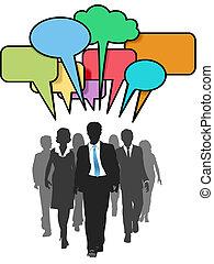 professionnels, couleur, promenade, social, bulles, parler