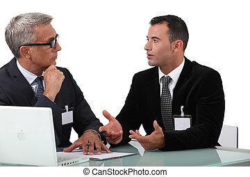 professionnels, discussion, avoir, business