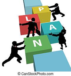 professionnels, ensemble, plan, équipe, poussée