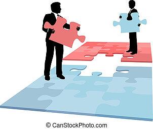 professionnels, fusion, collaboration, solution, morceau, puzzle