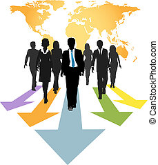 professionnels, global, flèches, en avant!, progrès