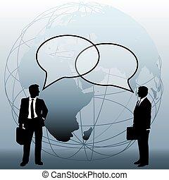 professionnels, global, relier, équipe, bulles, parler