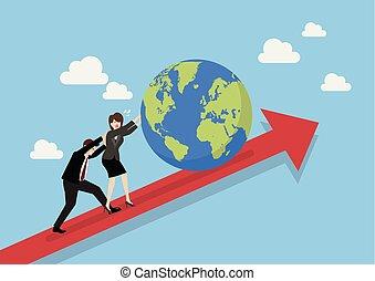 professionnels, graphique, relever, mondiale
