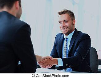 professionnels, mains, haut, meeting., finir, secousse