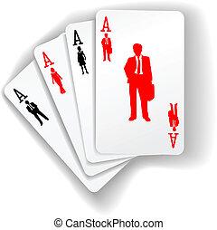 professionnels, procès, cartes, jouer, ressources