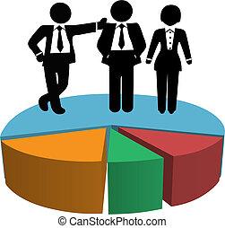 professionnels, profit, diagramme, tarte, ventes, croissance, équipe