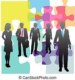 professionnels, puzzle, solution, humain, problème, ressources