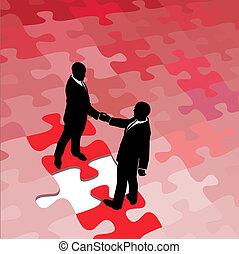 professionnels, puzzle, solution, problème, consentir