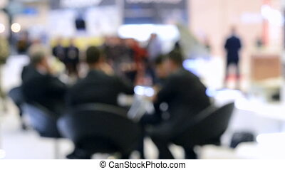 professionnels, séance, brouillé, arrière-plan., table