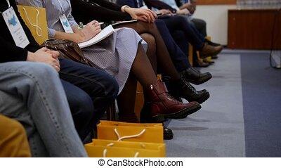 professionnels, séance, cahier, marques, confection, conference., salle