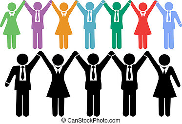 professionnels, symboles, tenant mains, célébrer