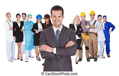 professions, différent, blanc, ouvriers, ensemble