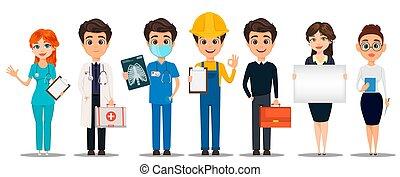 professions., ensemble, dessin animé, characters.