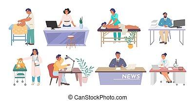 professions, plat, caractères, dessin animé, gens, illustration., métiers, différent, ouvriers, vecteur, lieu travail