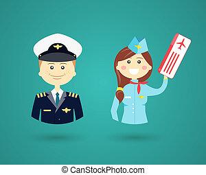 professions-, steward, pilote