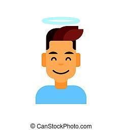 profil, émotion, mâle, ange, figure, avatar, homme, portrait, sourire, icône, dessin animé, heureux