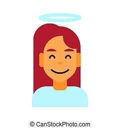 profil, émotion, visage femme, avatar, femme, portrait, sourire, icône, dessin animé, heureux