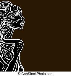 profil, beau, woman., africaine