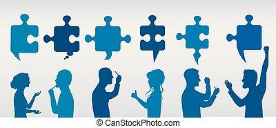 profil, bleu, concept, success., professionnels, solution., puzzle, résoudre, pieces., stratégie, couleur, team., client, gris, problème, faire gestes, service.