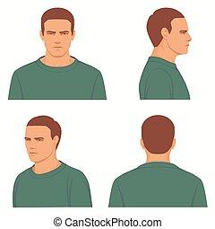 profil, côté, vue, tête, devant