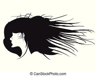 profil, coiffure, femme, noir, vecteur