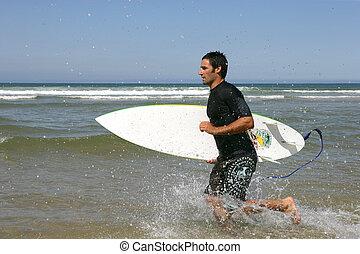 profil, courant, surfeur