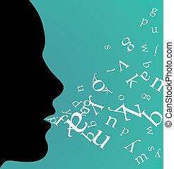 profil, femelle noire, parler