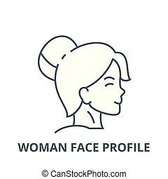 profil, femme, linéaire, concept, symbole, figure, signe, vecteur, icône, ligne, contour