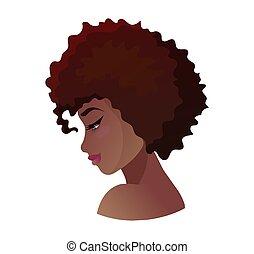 profil, jeune, américain, vecteur, africaine