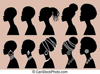 profil, noir, vecteur, africaine, filles, femmes, ensemble, silhouettes