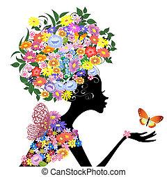 profil, papillon, girl, fleur