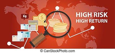 profil, retour, risque, argent, analyse, élevé, investissement