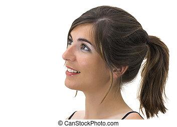 profil, sourire