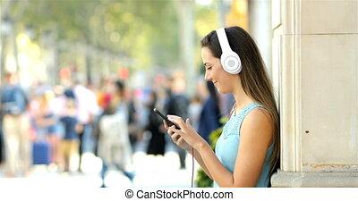 profil, téléphone, rue, musique écouter, girl