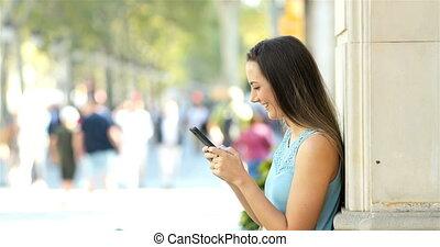 profil, téléphoner femme, rue, utilisation