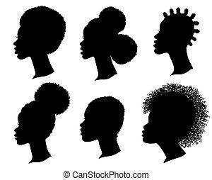 profil, vecteur, têtes, américain, noir, isolé, blanc, femmes, ensemble, africaine, silhouette.