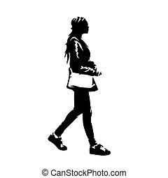 profile., américain africain, drawing., femme, encre, isolé, dame, marche, jeune, sac main, vecteur, silhouette