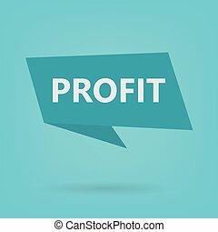 profit, autocollant, mot
