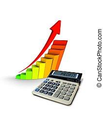 profit, calculatrice, diagramme