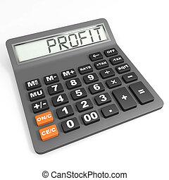 profit, calculatrice, display.