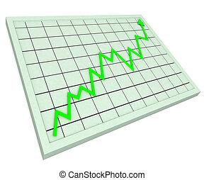 profit, graphique, augmentation, vert, spectacles