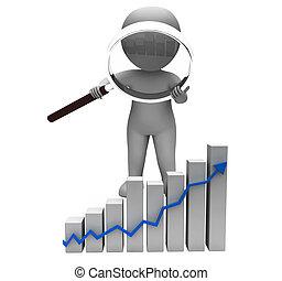 profit, graphique, caractère, levée, flèche, revenu, augmenter, spectacles