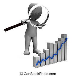 profit, graphique, caractère, levée, revenu, augmenter, spectacles