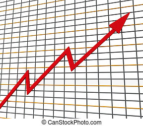 profit, graphique, ligne, rouges, spectacles