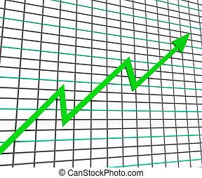 profit, graphique, ligne, vert, spectacles