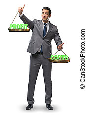 profit, homme affaires, bénéfice, concept, équilibre