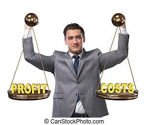 profit, homme affaires, concept, équilibre, bénéfice