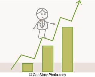 profit, homme affaires, diagramme